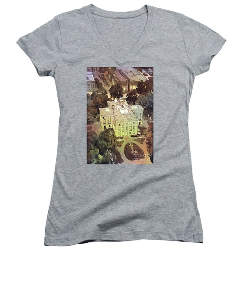 Women's V-Neck T-Shirt (Junior Cut) featuring the painting Capitol Of Stupid- Raleigh, Nc by Ryan Fox