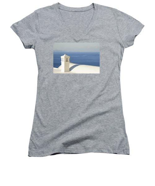 Women's V-Neck T-Shirt (Junior Cut) featuring the photograph Capri by Silvia Bruno