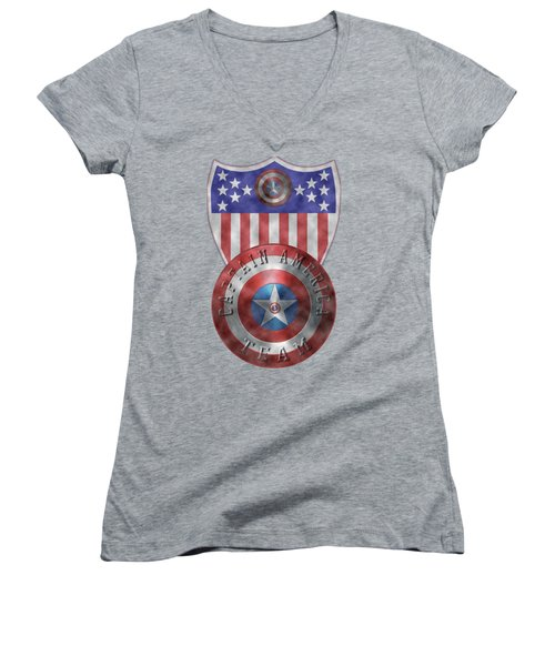 Captain America Shields On Gold  Women's V-Neck T-Shirt