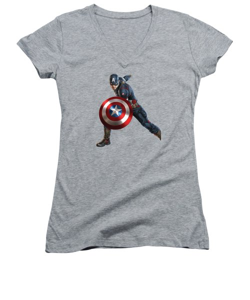 Women's V-Neck T-Shirt (Junior Cut) featuring the mixed media Captain America Splash Super Hero Series by Movie Poster Prints