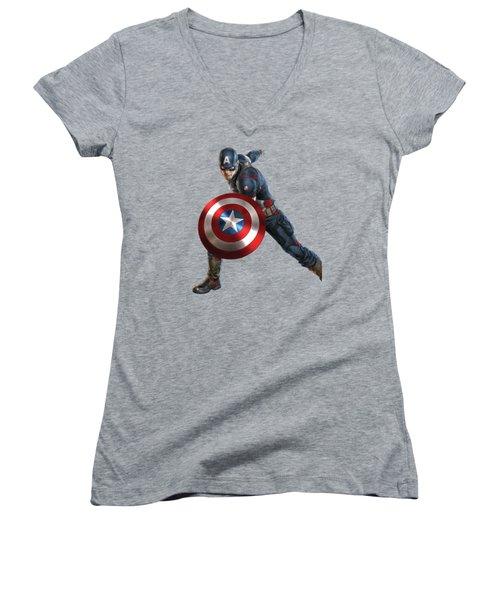 Captain America Splash Super Hero Series Women's V-Neck