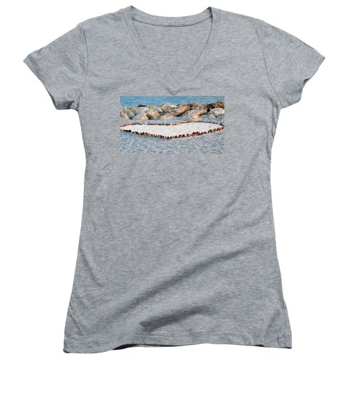 Captiva Love Women's V-Neck T-Shirt (Junior Cut) by Melanie Moraga