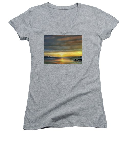 Captivating Sunset Over The Harbor Women's V-Neck T-Shirt (Junior Cut) by Judy Palkimas