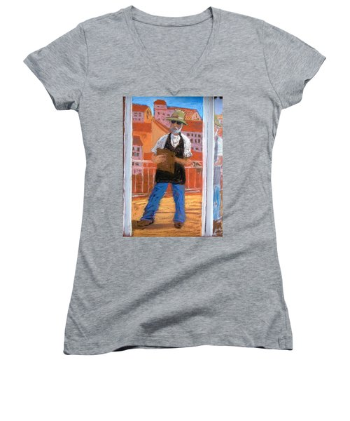 Women's V-Neck T-Shirt (Junior Cut) featuring the painting Captured In Antibes by Gary Coleman