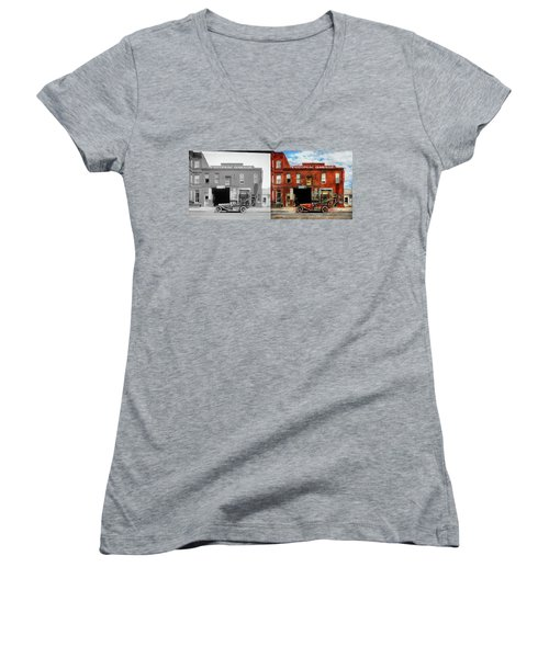 Women's V-Neck T-Shirt (Junior Cut) featuring the photograph Car - Garage - Misfit Garage 1922 - Side By Side by Mike Savad