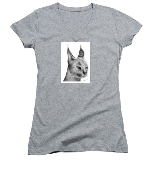 Caracal Women's V-Neck T-Shirt (Junior Cut) by Lawrence Tripoli