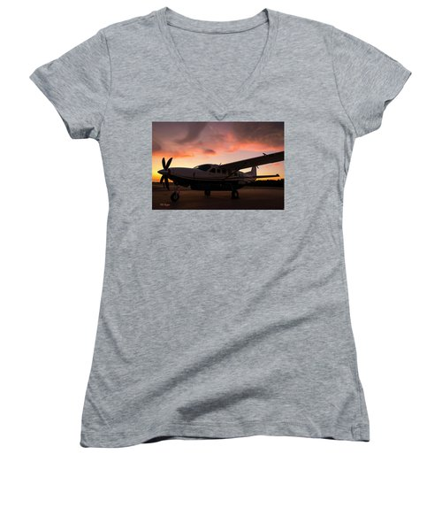 Caravan On The Ramp In The Sunset Women's V-Neck (Athletic Fit)