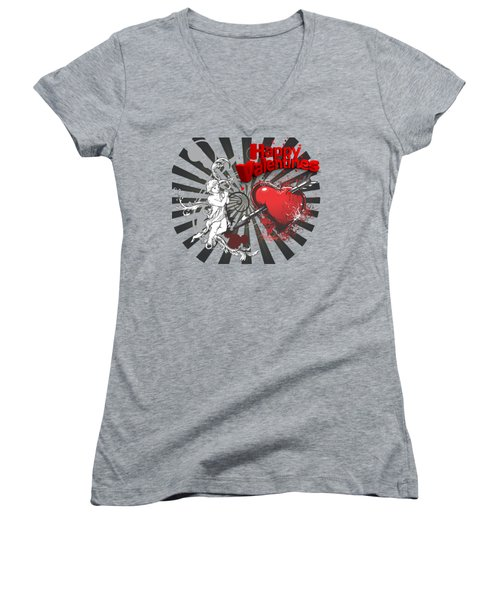 Card Valentine Cherub Women's V-Neck T-Shirt (Junior Cut) by Robert G Kernodle