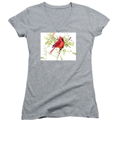 Cardinal Bird Women's V-Neck T-Shirt