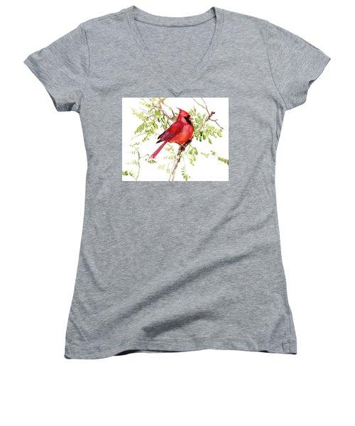 Cardinal Bird Women's V-Neck (Athletic Fit)