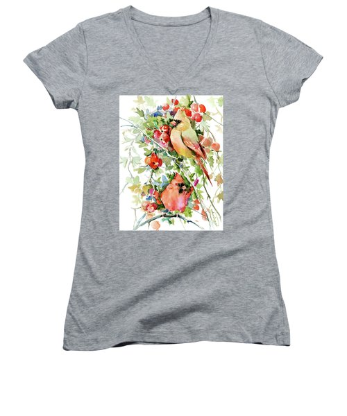 Cardinal Birds And Hawthorn Women's V-Neck T-Shirt