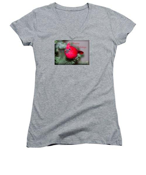 Cardinal Happy Holidays Women's V-Neck T-Shirt