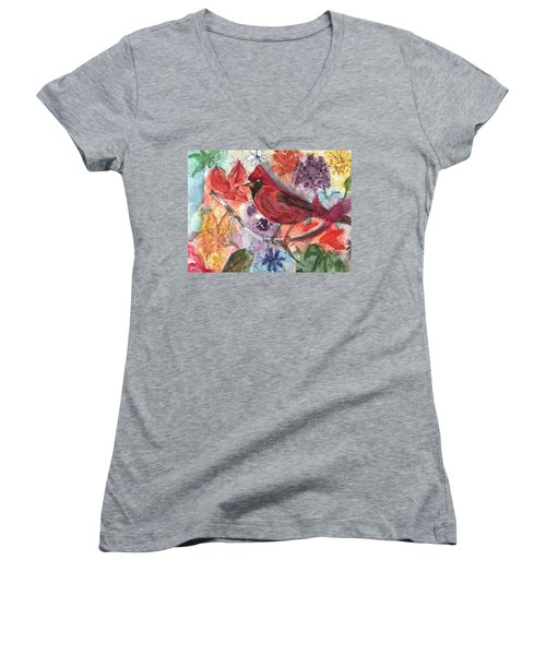 Cardinal In Flowers Women's V-Neck T-Shirt