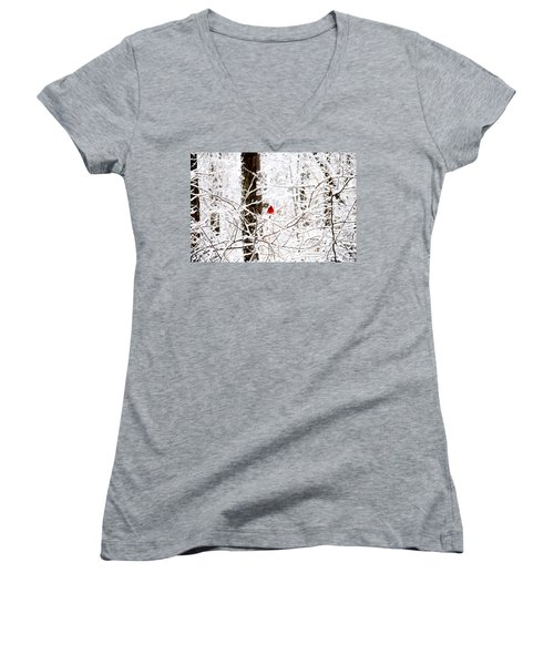 Cardinal In The Snow Women's V-Neck (Athletic Fit)