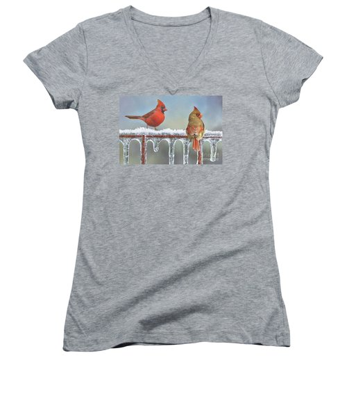 Cardinals And Icicles Women's V-Neck (Athletic Fit)