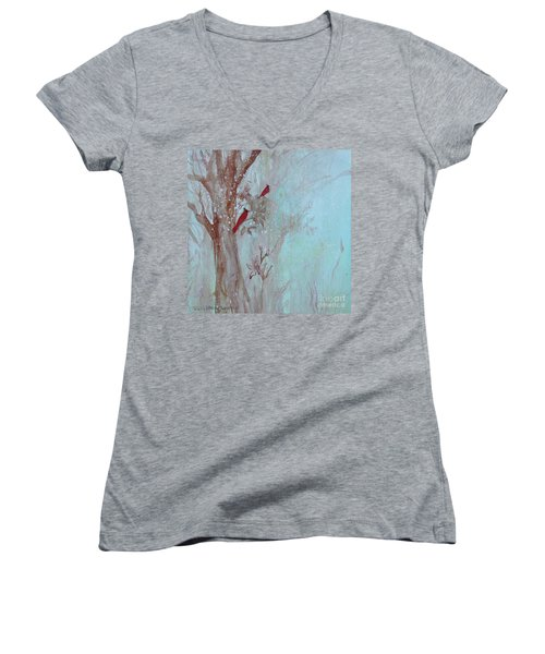 Women's V-Neck T-Shirt featuring the painting Cardinals In Trees Whilst Snowing by Robin Maria Pedrero