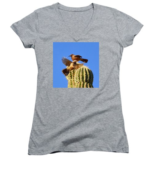 Women's V-Neck T-Shirt (Junior Cut) featuring the photograph Careful Landing by Marilyn Smith