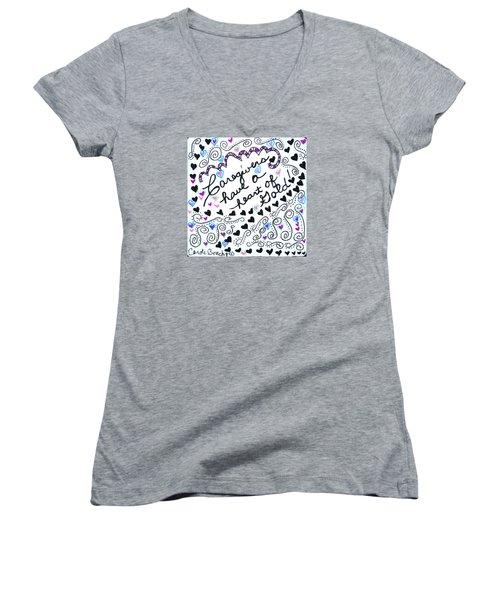 Caregiver Hearts Women's V-Neck T-Shirt (Junior Cut) by Carole Brecht