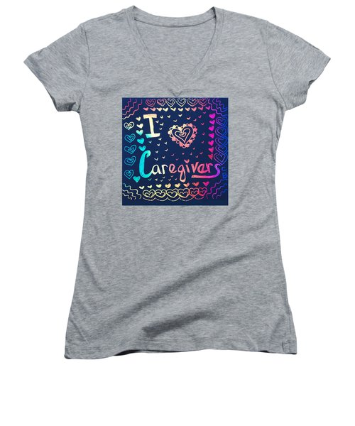 Caregiver Rainbow Women's V-Neck