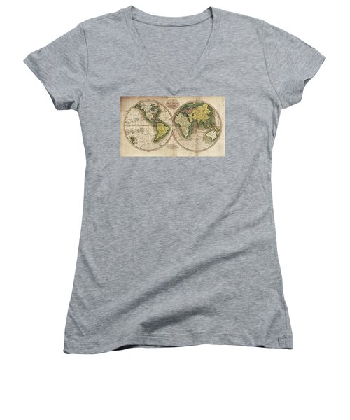 Women's V-Neck T-Shirt (Junior Cut) featuring the photograph Carey's Map Of The World  1795 by Daniel Hagerman