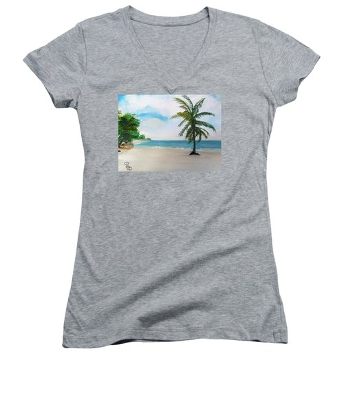 Caribbean Beach Women's V-Neck (Athletic Fit)