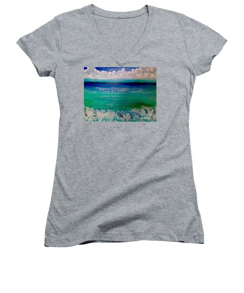 Caribbean Blue Words That Float On The Water  Women's V-Neck