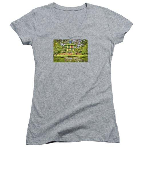 Caribbean Home Women's V-Neck T-Shirt (Junior Cut) by Nadia Sanowar