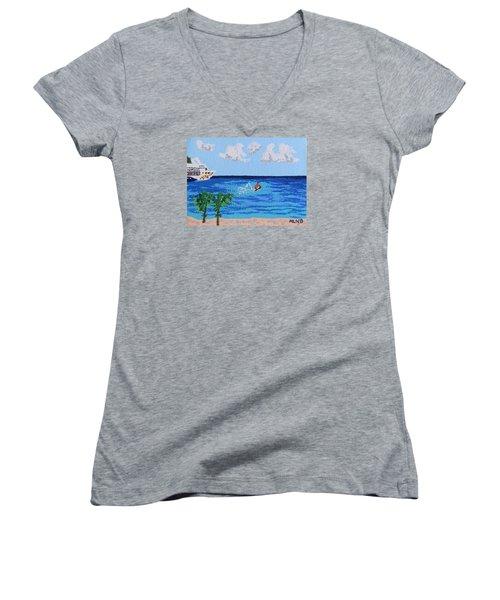 Caribbean Jet Ski Women's V-Neck T-Shirt (Junior Cut) by Margaret Brooks