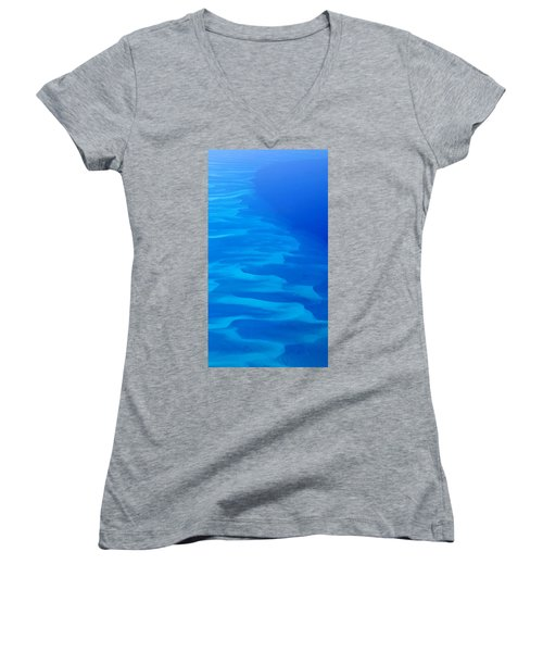Women's V-Neck T-Shirt (Junior Cut) featuring the photograph Caribbean Ocean Mosaic  by Jetson Nguyen