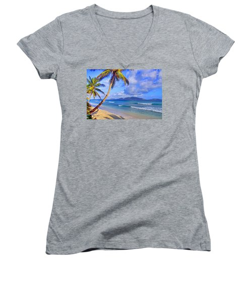 Caribbean Paradise Women's V-Neck T-Shirt (Junior Cut) by Scott Mahon