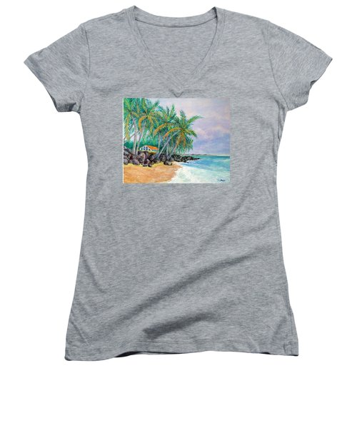 Women's V-Neck T-Shirt (Junior Cut) featuring the painting Caribbean Retreat by Susan DeLain
