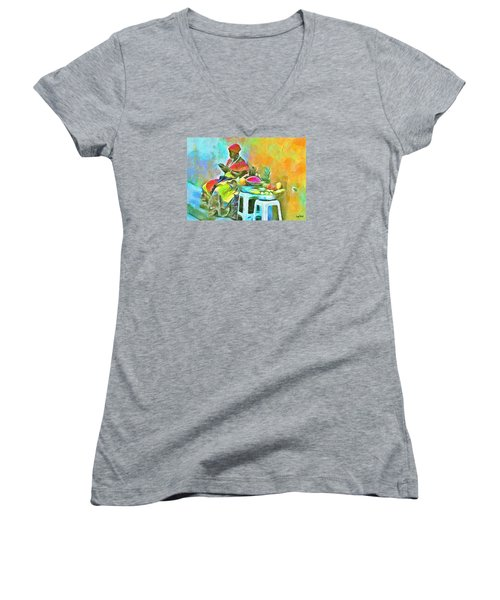 Women's V-Neck T-Shirt (Junior Cut) featuring the painting Caribbean Scenes - De Fruit Lady by Wayne Pascall