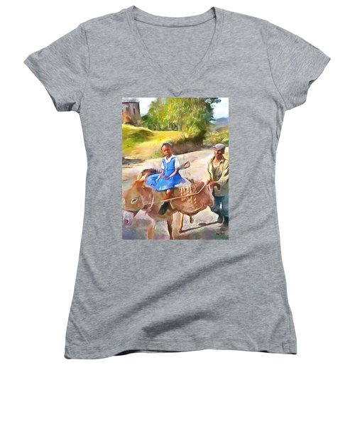 Caribbean Scenes - School In De Country Women's V-Neck T-Shirt (Junior Cut) by Wayne Pascall