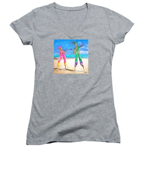Women's V-Neck T-Shirt (Junior Cut) featuring the painting Caribbean Scenes - Moko Jumbie by Wayne Pascall