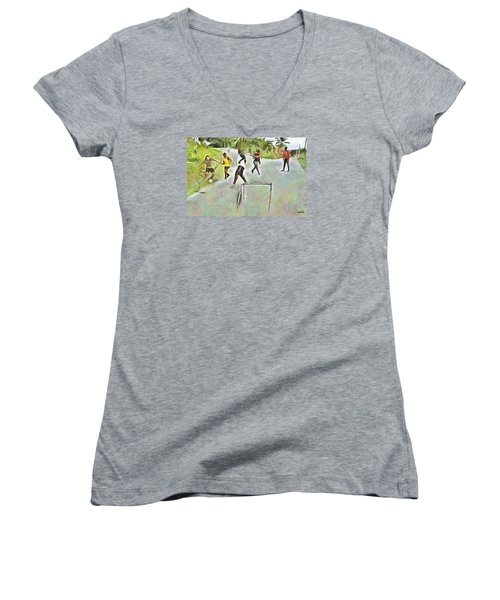 Women's V-Neck T-Shirt (Junior Cut) featuring the painting Caribbean Scenes - Small Goal In De Street by Wayne Pascall
