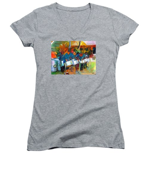 Caribbean Scenes - Steel Band Practice Women's V-Neck T-Shirt