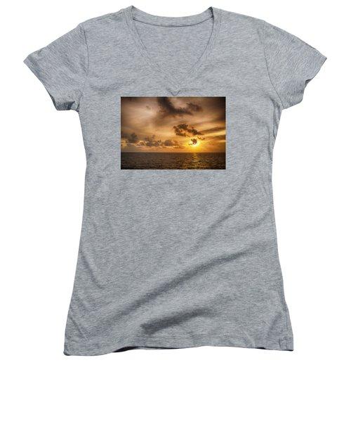 Caribbean Sunrise Women's V-Neck T-Shirt