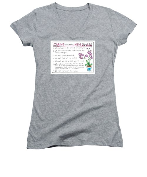 Caring For Your New Orchid Women's V-Neck