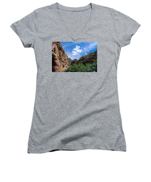 Women's V-Neck T-Shirt (Junior Cut) featuring the photograph Carlsbad Caverns by Gina Savage