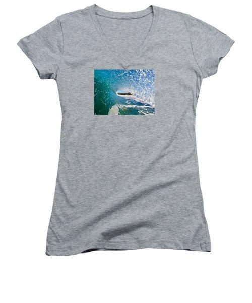 Carmel Blues Women's V-Neck T-Shirt (Junior Cut) by Paul Topp