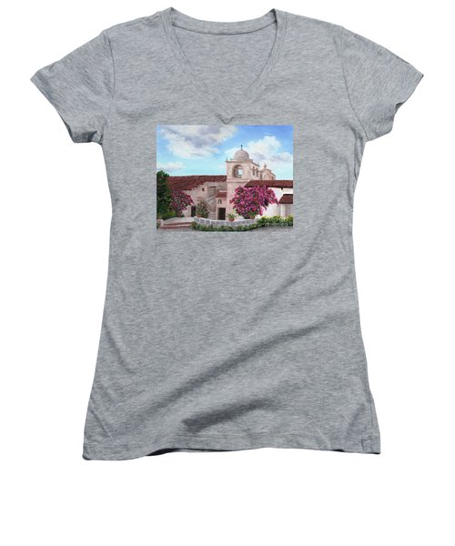 Carmel Mission In Spring Women's V-Neck T-Shirt