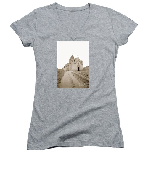 Carmel Mission South Side Circa 1915 Women's V-Neck T-Shirt (Junior Cut) by California Views Mr Pat Hathaway Archives