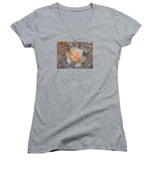 Carnation In Cut Glass 7 Women's V-Neck T-Shirt (Junior Cut) by Lynda Lehmann