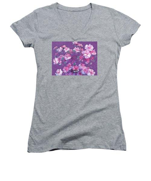 Women's V-Neck T-Shirt (Junior Cut) featuring the digital art Carnation Inspired Art by Barbara Tristan
