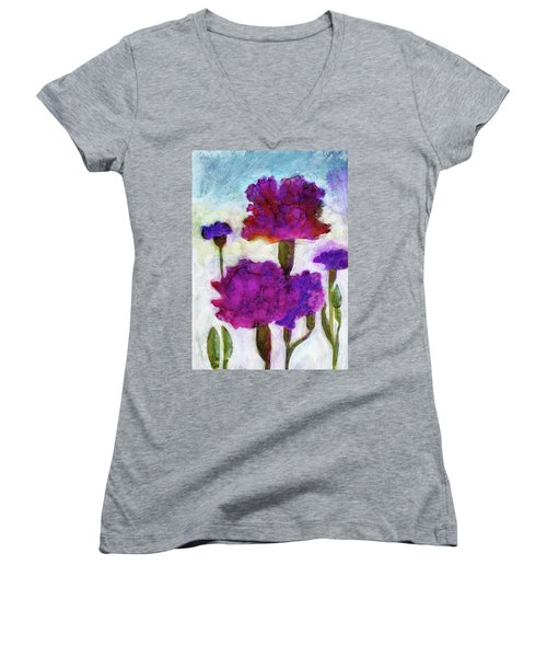 Women's V-Neck T-Shirt (Junior Cut) featuring the painting Carnations by Julie Maas