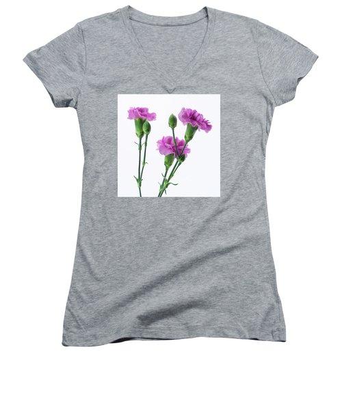 Carnations Three Lavender Women's V-Neck (Athletic Fit)