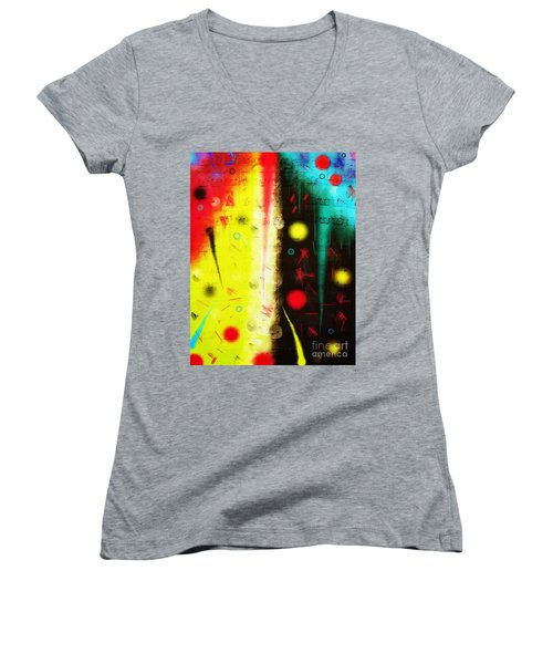 Women's V-Neck T-Shirt featuring the digital art Carnival by Silvia Ganora
