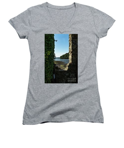 Women's V-Neck T-Shirt (Junior Cut) featuring the photograph Photographs Of Cornwall Carnon Mine Window by Brian Roscorla