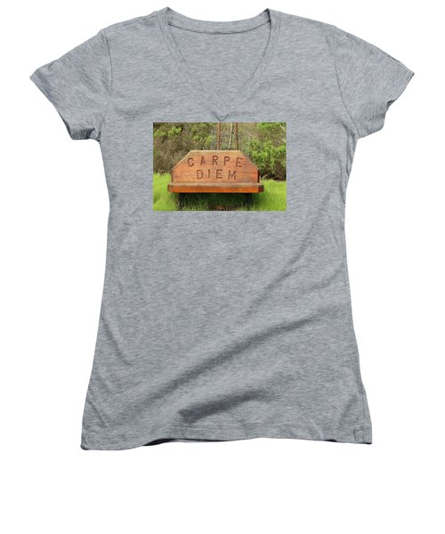 Women's V-Neck T-Shirt (Junior Cut) featuring the photograph Carpe Diem Bench by Art Block Collections