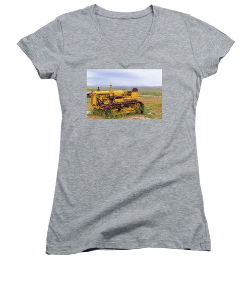 Women's V-Neck T-Shirt (Junior Cut) featuring the photograph Carrizo Plain Bulldozer by Marc Crumpler